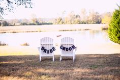 Sorry, this seat is taken ;) ::Katie + Alec\'s naturally stunning wedding at Spring Lake Events in Rockmart, Georgia:: #weddingreception #wedding #photography #bride #groom #banner #adirondackchairs #romantic #springlakewedding #GAwedding @noëlle Lake Events