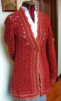 """Hibiscus Car Coat"" from the book, Mission Falls Goes Crochet...beautiful!"