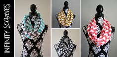 Chevron Jersey Infinity Scarves:  8 colors!