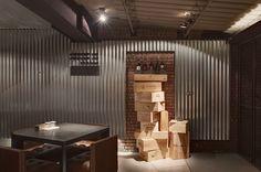 Baffi Italian Trattoria by TBDC, Taipei – Taiwan// #atmosphere #baffi #dinning room #italian #open style# #pillar #red brick walls #restaurant #Taipei #Taiwan, #tbdc #trattoria