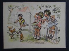 Gravure illustrée Germaine BOURET 1936 Toto poule hen Henne Gallina   eBay