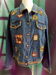 EXC Embroidered Stonebridge Denim Blue Jean Jacket Dogs Scottie XL Cotton Womens #Stonebridge #JeanJacket #Casual