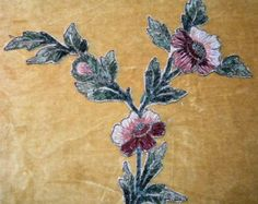 Surprise 25% OFF SALE - Antique Chenille Applique Metallic Embroidered Flower Trim