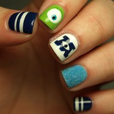 Monsters University nail art! #OfficialNailasaurus #NailArt  can't wait I'm seeing the movie on Friday... Maybe I will attempt this!