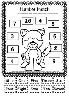 "FREE Husky Winter Worksheet - Number Match to 10. This is a cut and paste worksheet where students cut out the number words and glue them on top of the correct number. This is included in the free ""Winter Number to 10"" printable set."