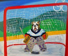 English Bulldog Dog Art Print/ The Net Minder/by by dogwagart, $13.50