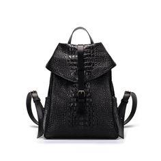 Little black croc leather backpack. | Asya Malbershtein