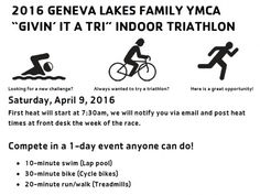 """Get a head start on #triathlon season with our YMCA """"Givin' It A Tri"""" indoor triathlon on April 9. Sign up now!"""