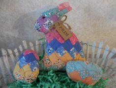 Primitive Mini Bunny & Egg Tucks Vintage Handsewn Quilt Easter Home Decor by auntiemeowsprims on Etsy