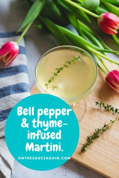 This savoury twist on Vodka Martini is made by infusing vermouth with yellow bell pepper and thyme. You could substitute vodka with gin if you prefer. Best Cocktail Recipes, Martini Recipes, Smoothie Recipes, Smoothies, Cocktail And Mocktail, Cocktail Club, Frozen Cocktails, Fun Cocktails, Vodka Martini