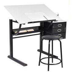 Goplus Zeichentisch Schreibtisch Architektentisch Bürotisch neigbar +Hockersparen25.com , sparen25.de , sparen25.info