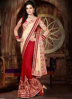 Noble Cream And Red Georgette Embroidery Work Net Half N Half Saree  http://www.angelnx.com/Sarees