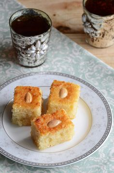 Photo (taken by yours truly) of Coconut Semolina Cake from my cookbook, An Edible Mosaic: Middle Eastern Fare with Extraordinary Flair. This cake is one of my hubby's favorites, and along with Knaf. Cake Recipes, Dessert Recipes, Party Recipes, Dessert Ideas, Grape Leaves Recipe, Aid El Fitr, Semolina Cake, Egyptian Food, Lebanese Recipes