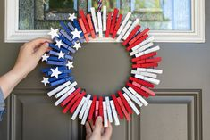 The Easiest DIY Fourth of July Clothespin Wreath You'll Ever Make - The Krazy Coupon Lady Fourth Of July Decor, 4th Of July Decorations, Diy Halloween Decorations, Halloween Diy, 4th Of July Wreath, July 4th, Halloween Camping, Halloween Ghosts, Birthday Decorations