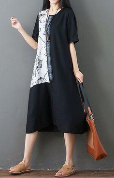 60cbf518fd39 Summer Women s Cotton Linen Color Block Harf Sleeve Loose Pockets Tunic  Dress