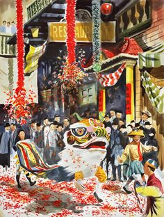 JakeLee_Lion Dance at New Year_web. Dancing Drawings, Art Drawings, Chinese Lion Dance, New Year Illustration, Dragon Dance, China Art, Mural Art, Chinese Culture, Chinese Painting