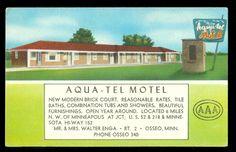 Aqua Tel Motel at the junction of US 52 & 218 & Minn Hwy 152 in Osseo, Minnesota Postcard