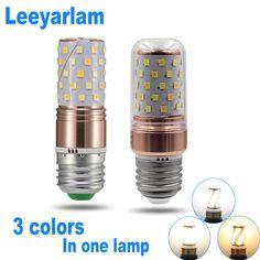 Leeyarlam LED Corn Bulb Adjust Light In Sections 85-265V 3 Colors Indoor Lamp E14 E27 Lampada Chandelier