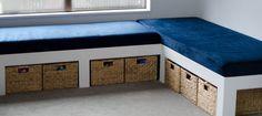 DIY window bench seat with storage . DIY window bench seat with storage . Storage Bench Seating, Diy Bench Seat, Corner Bench Seating, Window Seat Storage, Window Benches, Booth Seating, Floor Seating, Bed Bench With Storage, Storage Beds