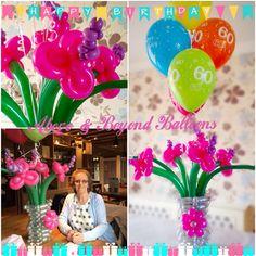 Balloon vase of flowers