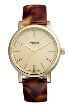 tortoise leather strap watch / timex