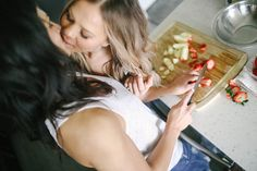 At home denim engagement shoot | Equally Wed - LGBTQ Weddings