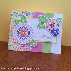 This card is based on a card design on page 85 of the 2015-2016 Annual Inspirations Idea Book.  It features Kaleidoscope B&T Paper and coordinating colours of Pear, Gypsy, Canary, Sunset, Hollyhock and Pixie. Created by Denise Tarlinton, CTMH Manager http://scrapstampshare.blogspot.com.au/2016/03/so-many-smiles.html