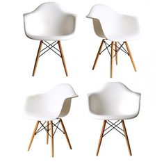 Ariel DAW White Plastic Armchair with Wood Eiffel Legs Set of 4 ** For more details, visit image web link. (This is an affiliate link). Dining Arm Chair, Classic Looks, Eames, Solid Wood, Indoor, Plastic, Legs, Armchairs, Ariel