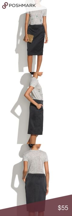"""Madewell • Satin """"Game Plan"""" Pencil Skirt Madewell Satin """"Game Plan"""" Pencil Skirt made of 100% polyester in a size M. Features include front pockets, back vent slit, and an elastic waistband.  Length - 23"""" Excellent (no rips, stains, fading) condition. Retail $118. Madewell Skirts Pencil"""