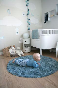 Blue and white baby boy nursery