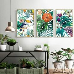 Tropical Flora & Fauna Colorful Nordic Style Botanic Watercolor Wall Art Fine Art Canvas Giclee Prints For Modern Living Room Dining Room Kitchen Home Decor Tropical Home Decor, Tropical Interior, Tropical Houses, Tropical Decor, Tropical Furniture, Tropical Colors, Tropical Leaves, Tropical Prints, Modern Tropical
