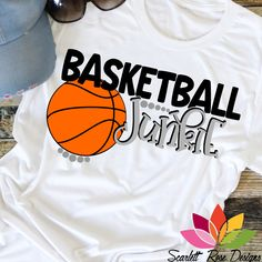 Basketball SVG, Basketball Junkie SVG, DXF, PNG Basketball cut file for silhouette cameo and cricut vinyl cutting machines Basketball Mom Shirts, Basketball T Shirt Designs, Love And Basketball, Sports Shirts, Boys School Shirts, Basketball Bedroom, Scarlett Rose, Sports Graphics, Rose Design