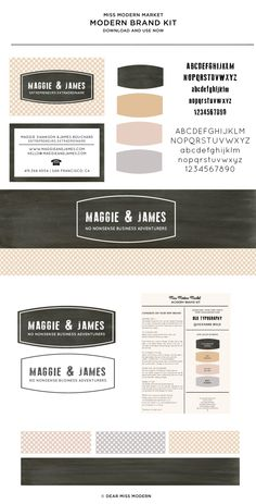 Modern Brand in Minutes!  Brand Kit | Maggie & James - new in the Dear Miss Modern Shop. More designs in the works.