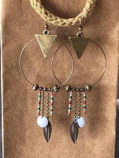 créoles ethniques originales bronze avec perles de rocaille et