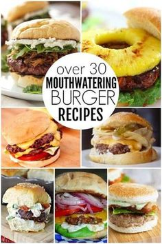 Try the best burger recipes! 35 of the best juicy burger recipes that you will love. Find the best grilled burger recipe from beef, poultry and meatless! There is a burger for everyone! We are want to say thanks if you like to share this post. Best Grilled Burgers, Grilled Burger Recipes, Healthy Meat Recipes, Gourmet Burgers, Delicious Burgers, Beef Burgers, Roast Recipes, Grilling Burgers, Hamburger Recipes