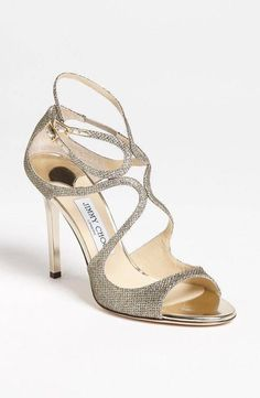 $795 JIMMY CHOO LANG GLITTER SANDALS SIZE 38 WORN ONCE!! CELEBRITY FAVORITE!