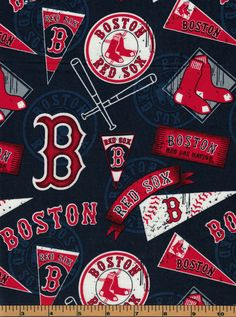 Boston Red Sox - Pennants - MLB Fabric |100% Cotton|Sold by the half yard