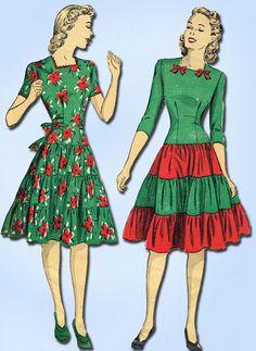 1940s Vintage Du Barry Sewing Pattern 5337 Uncut Misses WWII Party Dress Size 12