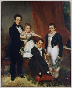 The Knapp Children by Samuel Lovett Waldo, US, the Met Museum via Old Rags Fine Art Prints, Canvas Prints, Art Reproductions, Metropolitan Museum, Dog Art, Image Collection, Fashion History, Poster Size Prints, Bluebirds