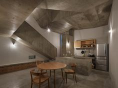 Kitchen of a house in Shinjuku, Japan. The owner wishes to enjoy a house with beautiful light and rich spatial meanings.
