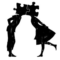 puzzle pieces, drawing, sketch, couple, kiss
