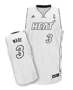 fd74fe818 adidas Miami HEAT Dwyane Wade Adult Swingman Jersey White and Black Chris  Bosh