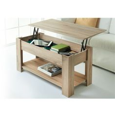 Theo Coffee Table. Contemporary light oak effect coffee table with lift up storage feature and shelf. Assembly required. Material: Oak Effect - B&M Stores.