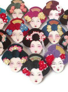 Japanese Geisha Felt Brooch, Fabric Brooch, Art Brooch, Wearable Art Jewelry. $20.00, via Etsy.