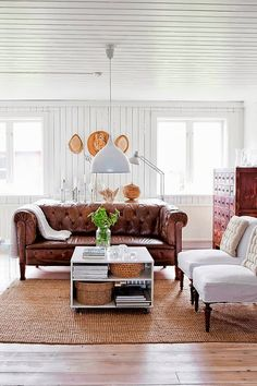 A RECIPE FOR COZY INTERIOR - white walls, wood floor, leather and linen upholstery