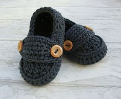 Crochet Baby booties grey loafers shoes size 0/3 by Ohprettypretty, $16.00