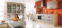 Best 18 Inspiring Orange Kitchen Design Ideas : Contemporary Open Plan White and Orange Kitchen with Long Modern Kitchen Island