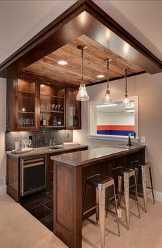Add track lighting to illuminate the space. Unfinished basement home decor tips, basement remodeling ideas, basement decor, basement remodel Home Bar Design, Basement Decor, Remodel, Basement Remodeling, Kitchen Remodel, Home Remodeling, Basement Bar Designs, Home Decor, Home Renovation