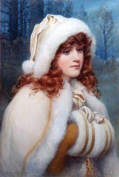 """A Winter's Dream"" -- by Norman Prescott Davies (British, Victorian Art, Victorian Christmas, Vintage Christmas, Victorian Ladies, Vintage Winter, Vintage Pictures, Vintage Images, Victorian Pictures, Vintage Prints"