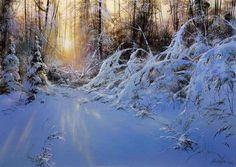 Юшкевич Виктор Николаевич Painting Snow, Winter Painting, Artist Painting, Winter Landscape, Landscape Art, Landscape Paintings, Landscapes, Amazing Paintings, Buy Paintings